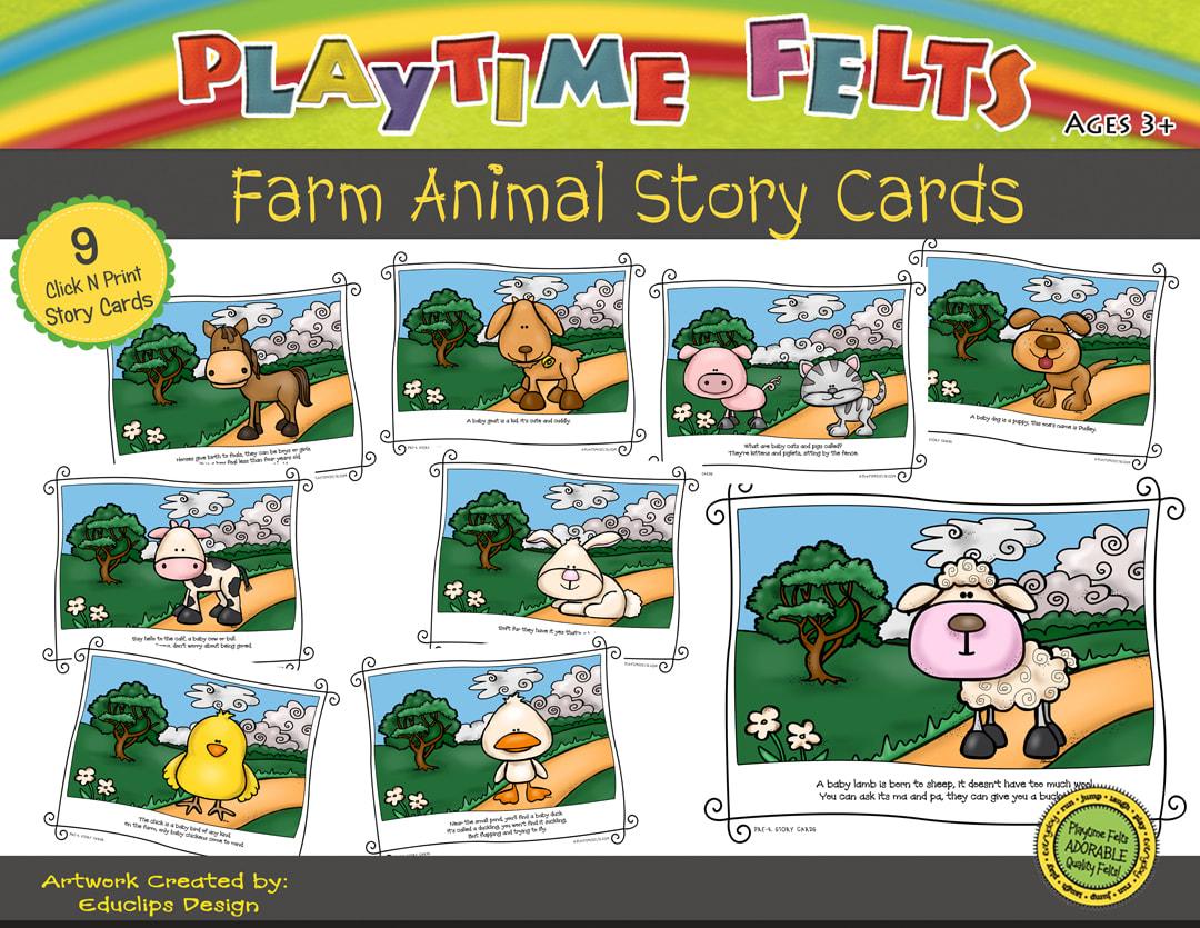 Farm Animal Printable Story Cards Digi Download