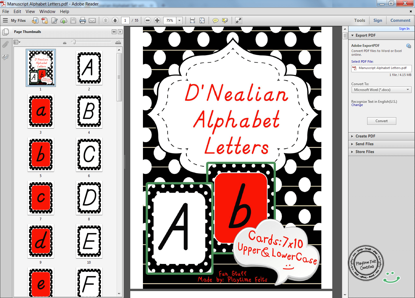 D Nealian Alphabet Set With Black Boarder And White Polka Dots