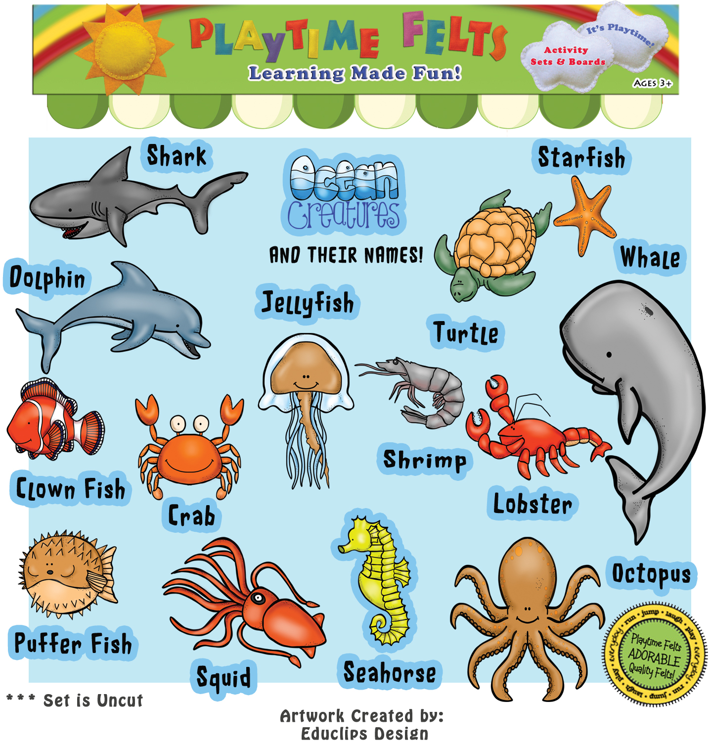 Ocean Creatures And Their Names Felt Set