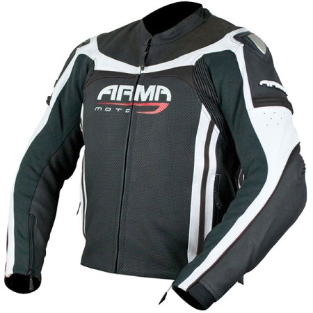 Armr Moto Raiden Leather Motorcycle Jacket Black/White