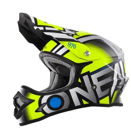 Oneal 3 Series Radium Motocross Helmet Yellow/Grey