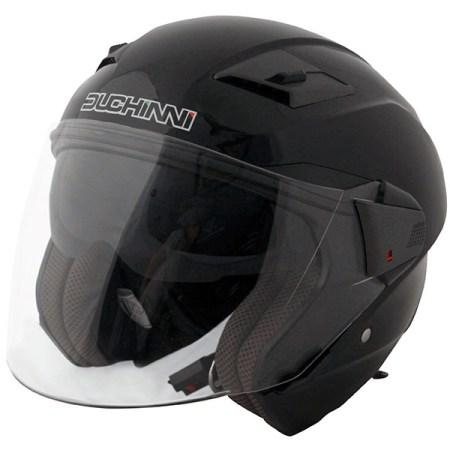Duchinni D205 Open Face Motorcycle Helmet - Black