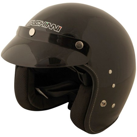Duchinni D501 Open Face Motorcycle Helmet - Gloss Black