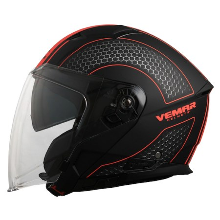 Vemar Feng Hive Motorcycle Helmet - Orange