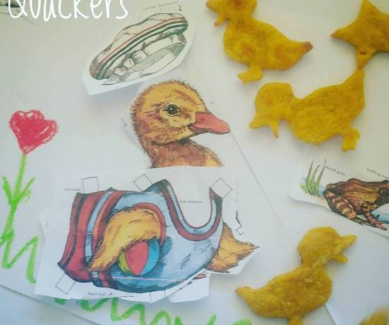 "Sweet potato crackers that look like ducks - just call them ""quackers"" by Play with Food"