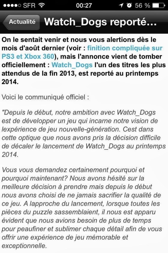 watch dogs reporté