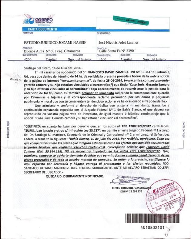 Otra carta documento que promueve la censura por parte del poder.