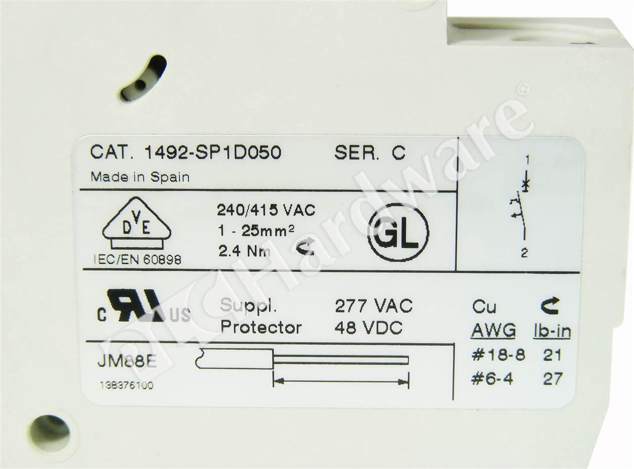 PLC Hardware: Allen-Bradley 1492-SP1D050 Circuit Breaker