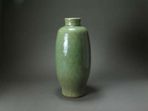 Ming Celadon Crosshatched Incised Vase