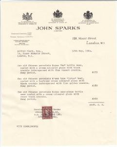 Fake receipt from John Sparks Asian Art
