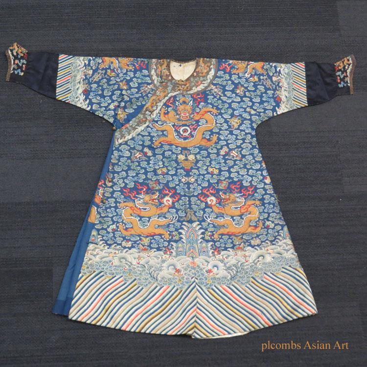 19th C. Chinese Silk Dragon Robe