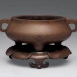 Bronze incense burner with base