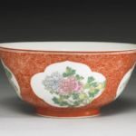 Qianlong coral ground bowl
