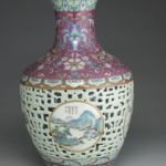 Famille rose reticulated vase