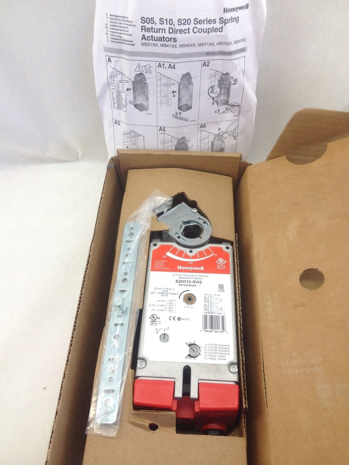 hight resolution of honeywell s20010 sw2 folding actuator with spring return plug in mount b408