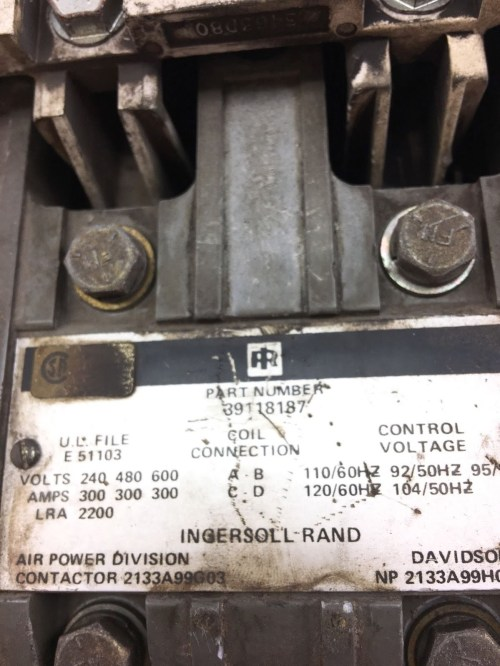 small resolution of used good condition ingersoll rand 39118187 contactor 300amp starter b368 2