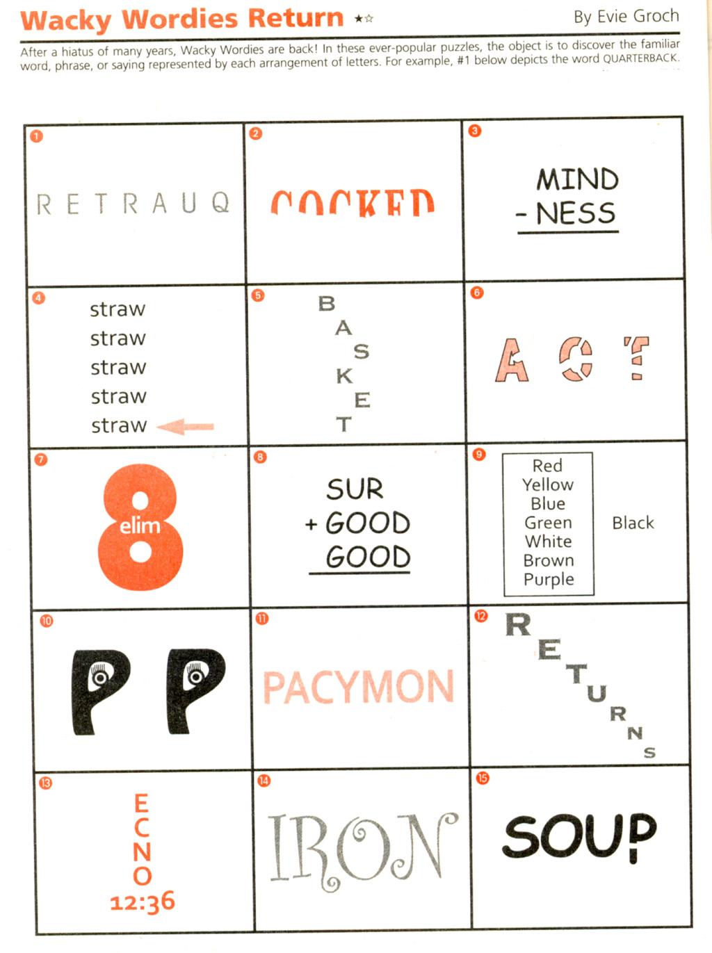 Wackie Wor S 68 Wacky Words Puzzle Word Puzzles Brain
