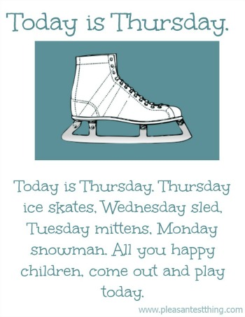kids'  winter song: Today is Monday