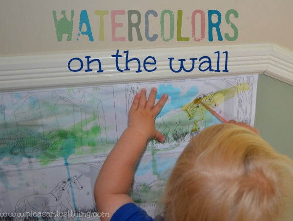 Watercolors on the wall: try a different approach to a favorite activity to strengthen hand muscles!