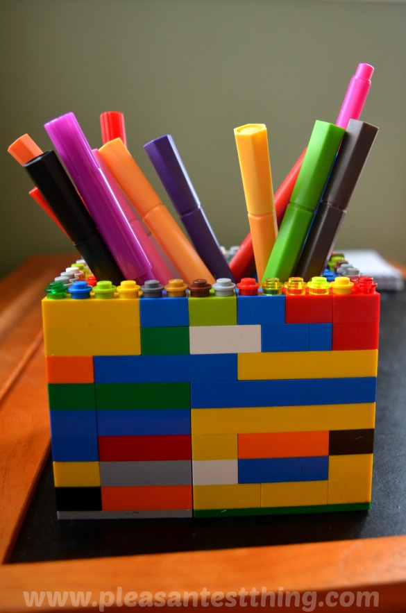 LEGO brick pencil holder - build it, and rebuild it! We use it for markers, colored pencils, even forks and spoons!