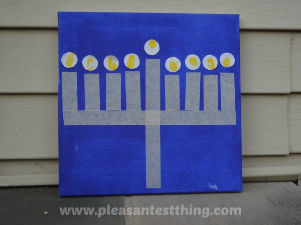 Masking tape menorah craft for kids