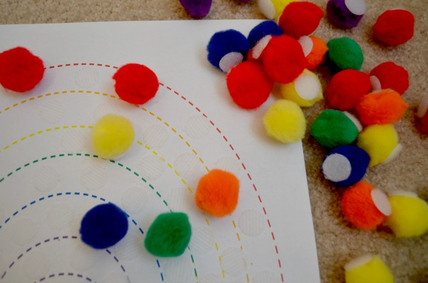 Rainbow busy bag - fun color and fine motor practice!