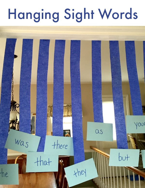 Hanging Sight Words game. Active and FUN way to practice reading sight words!