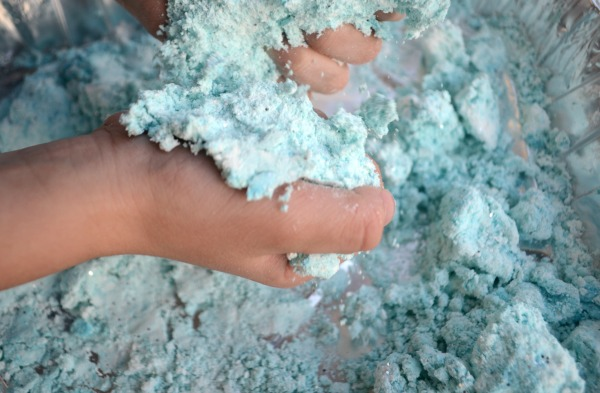 Play with sensory snow dough!
