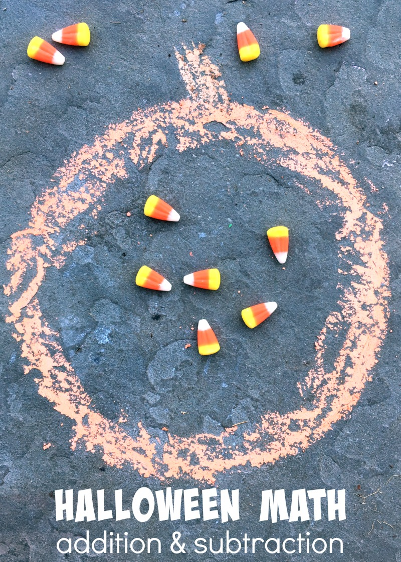 Halloween Math Games - addition and subtraction games. Play with candy and work on number sense!