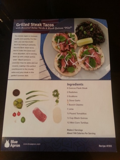 Blue Apron Menu