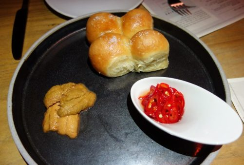 Parker House Rolls with Santa Barbara Sea Urchin, Chiles, Local Honey