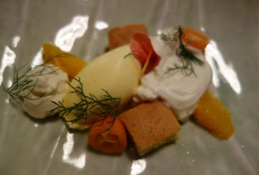 Saffron and Orange Ice Cream, White Chocolate Whipped Cream, Mandarin Oranges, Kumquats, Allspice, Lime