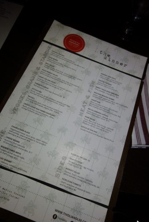 Tivoli & Lee Menu