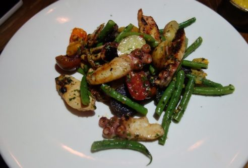 Warm Octopus Salad, taggiasca olives, potatoes, cherry tomatoes, haricot verts