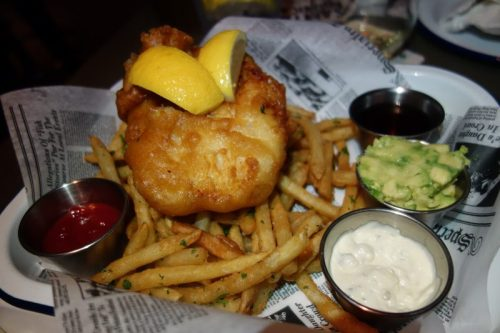 Fish & Chips (belgium beer battered cod, house tarter, avocado, malt vinegar)