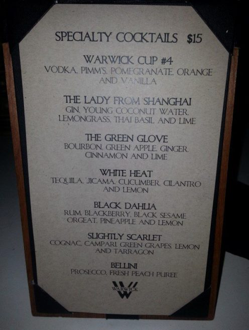 Warwick Cocktail Menu