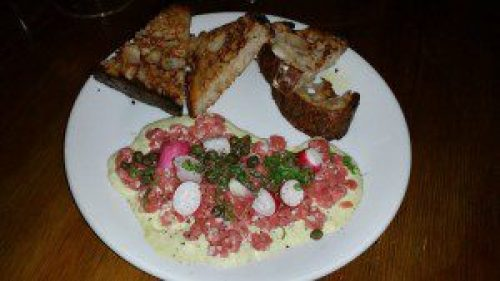 Beef Tartare with shio koji, capers, garlic aioli, radishes