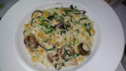 Risotto aux Champignon with wild mushrooms, butternut squash, arugula, truffle