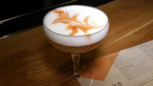 Fino Sour (Pisco, fino sherry, egg white, lemon bitters)