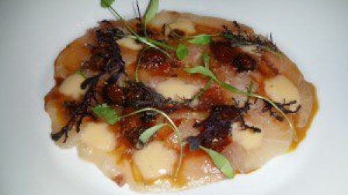 Shaved Hamachi with Sunchoke, Sweet Gem, Yuzu