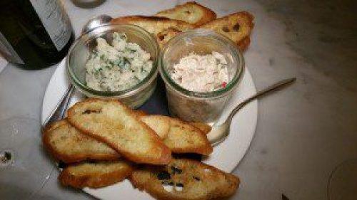 White Beans, Parsley, Capers and Olive Oil Crostini and Marinated White Tuna Crostini