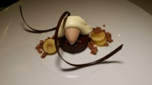 Chocolate Caramel Cremeux with milk chocolate ice cream, passionfruit chantilly