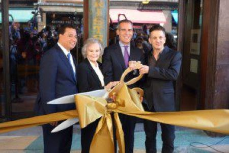 Council member José Huizar, actress June Lockhart, Mayor Eric Garcetti, Clifton's owner Andrew Meieran