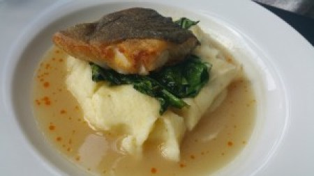 Alaskan Black Cod (pan-roasted, pomme puree, sauteed spinach, sweet onion veloute)