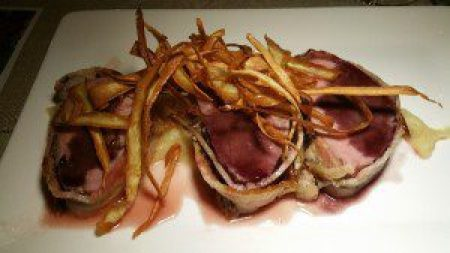 Bacon Wrapped Pork Tenderloin, Rosemary Pinot Reduction, Parship Puree