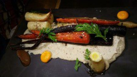 Charcoal Roasted Carrots, Sunflower Tahini, Medjool Dates