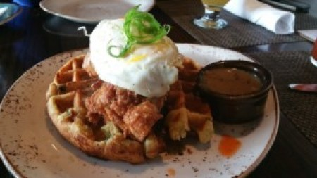 Fried Jidori Chicken and Green Chili Cornbread Waffles