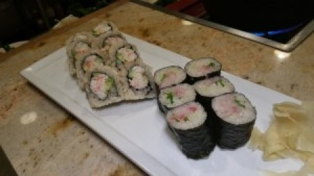 California Roll and Yellowtail and Scallion Roll