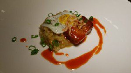 Pork Belly Risotto, Kimchi, egg, crispy shallots, sweet chile