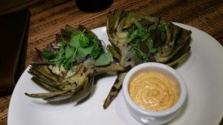 Grilled Artichoke with harissa aioli